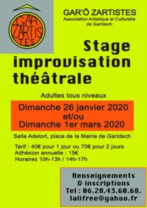 Stages d'improvisation 2020 - Gar'ô zartistes